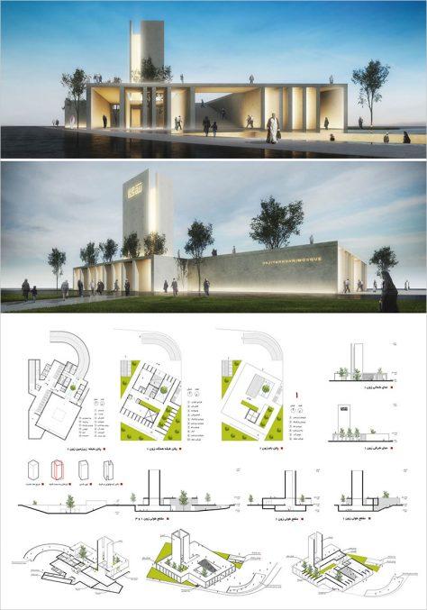 مرحله اول مسابقه طراحی مسجد و میدان (پلازا) گلشهر کرج / طرح برتر و راهیافته به مرحله دوم: احمد صفار (استودیو معماری خورشید)