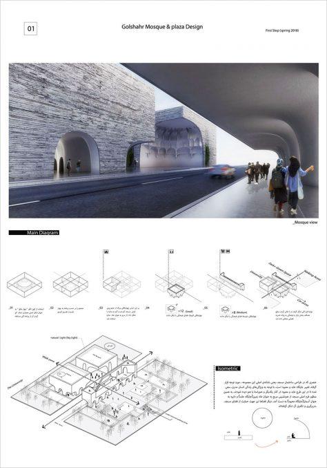 مرحله اول مسابقه طراحی مسجد و میدان (پلازا) گلشهر کرج / طرح شایسته تقدیر ویژه: شیما محمدی، گلشن نریمانی، فاطمه طباطبایی، مرضیه نوذری