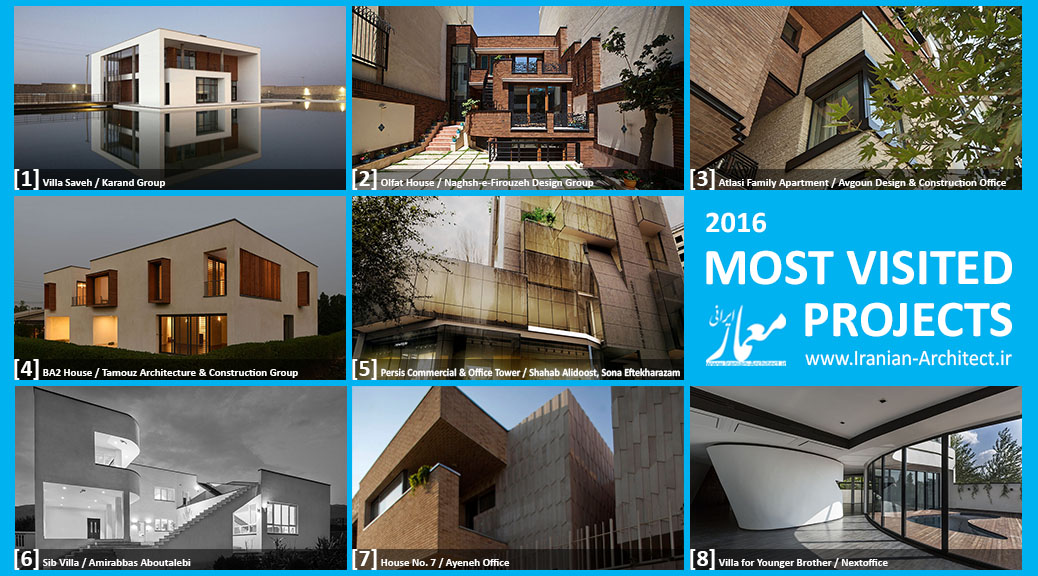 Iranian Architect's Most Visited Projects of 2016